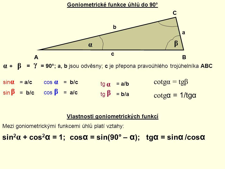 Goniometrické funkce úhlů do 90° AB c a b C α β γ + = = 90°; a, b jsou odvěsny; c je přepona pravoúhlého trojúhelníka ABC αβ γ sin = a/c α sin = b/c β