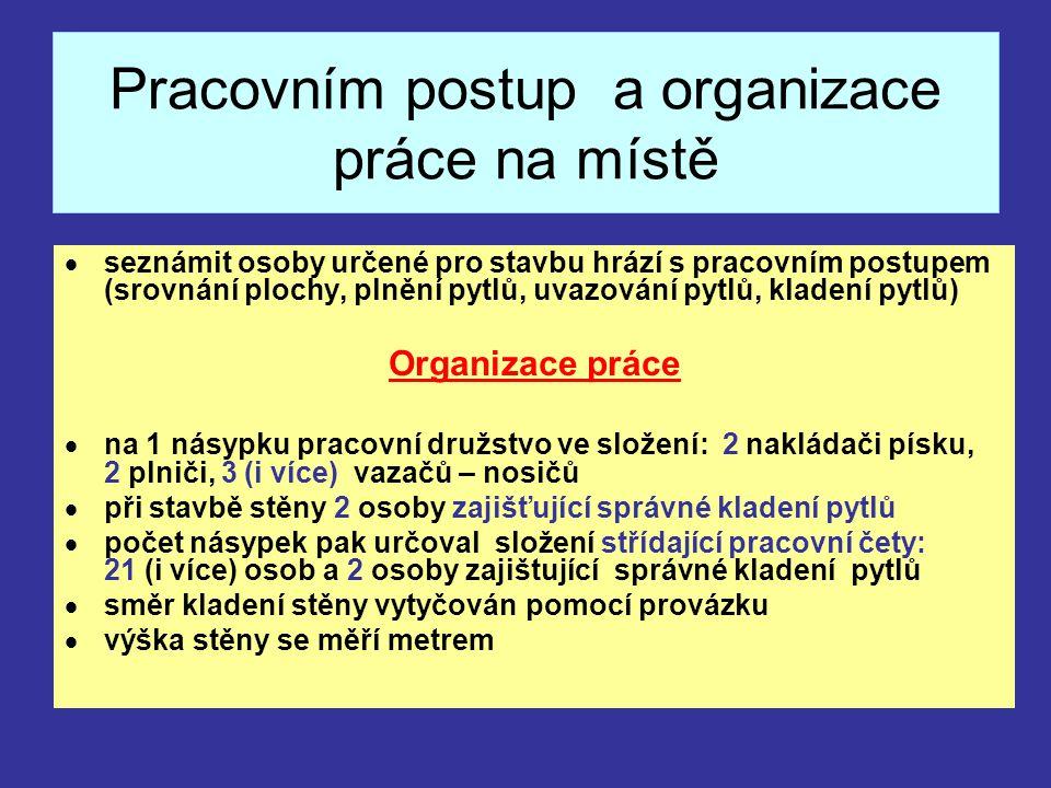Pracovním postup a organizace práce na místě  seznámit osoby určené pro stavbu hrází s pracovním postupem (srovnání plochy, plnění pytlů, uvazování p