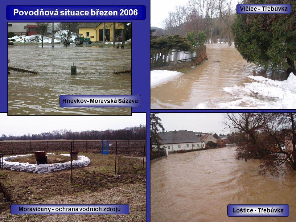 Povodňová situace březen 2006 Hněvkov- Moravská Sázava Moravičany - ochrana vodních zdrojů Vlčice - Třebůvka Loštice - Třebůvka