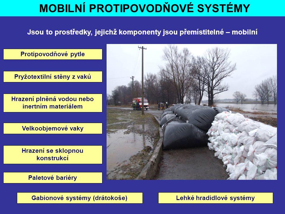 MOBILNÍ PROTIPOVODŇOVÉ SYSTÉMY Jsou to prostředky, jejichž komponenty jsou přemístitelné – mobilní Protipovodňové pytle Pryžotextilní stěny z vaků Pal