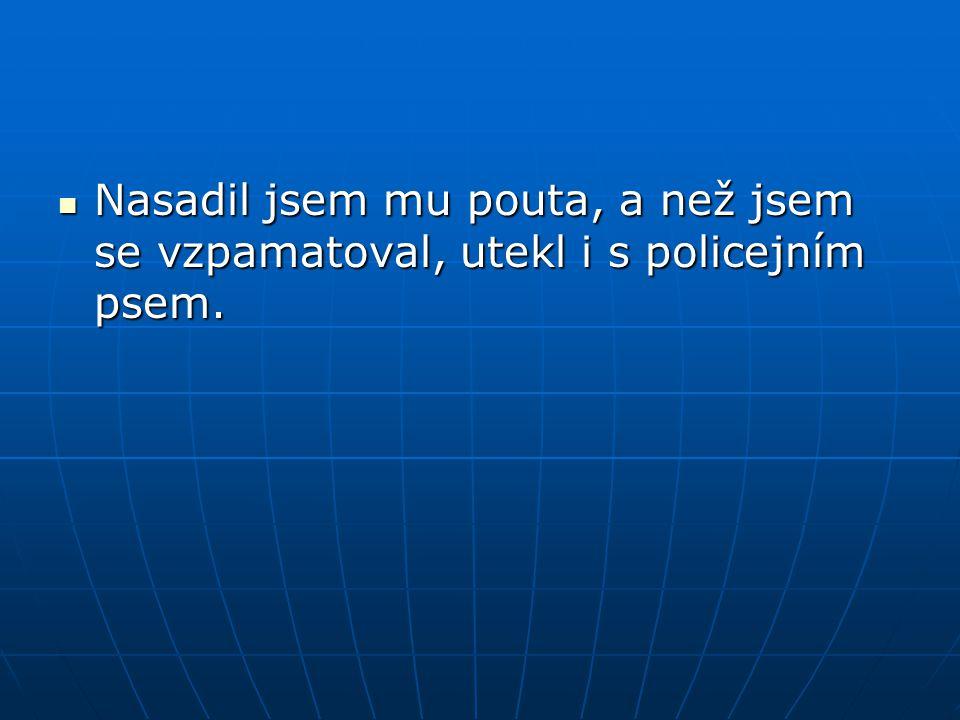  Nasadil jsem mu pouta, a než jsem se vzpamatoval, utekl i s policejním psem.