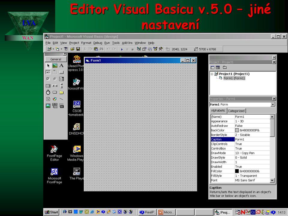 Editor Visual Basicu v.5.0 – jiné nastavení WAN LVA