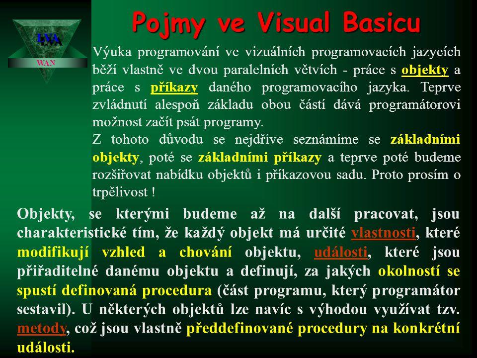 Pojmy ve Visual Basicu objekty Výuka programování ve vizuálních programovacích jazycích běží vlastně ve dvou paralelních větvích - práce s objekty a p