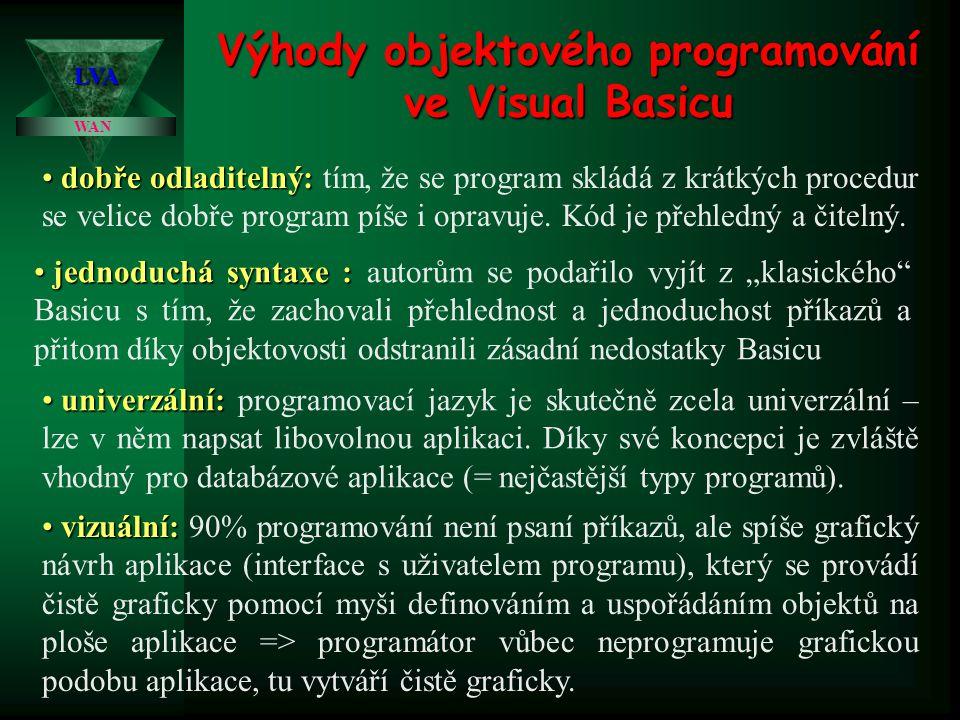 Výhody objektového programování ve Visual Basicu WAN LVA • dobře odladitelný: • dobře odladitelný: tím, že se program skládá z krátkých procedur se ve