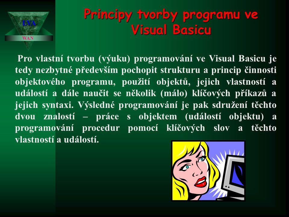 WAN LVA Principy tvorby programu ve Visual Basicu Pro vlastní tvorbu (výuku) programování ve Visual Basicu je tedy nezbytné především pochopit struktu