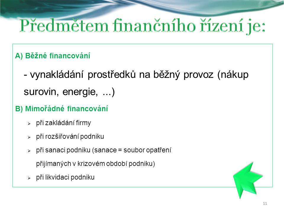A) Běžné financování - vynakládání prostředků na běžný provoz (nákup surovin, energie,...) B) Mimořádné financování  při zakládání firmy  při rozšiřování podniku  při sanaci podniku (sanace = soubor opatření přijímaných v krizovém období podniku)  při likvidaci podniku 11