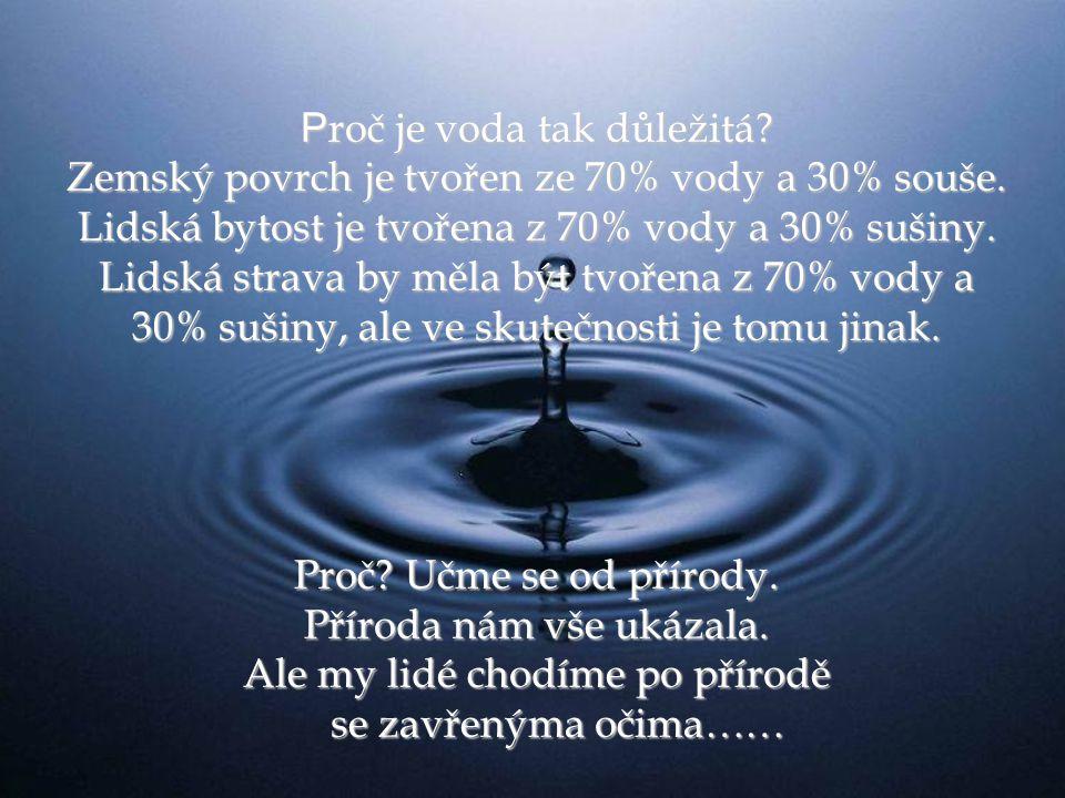 P roč je voda tak důležitá.Zemský povrch je tvořen ze 70% vody a 30% souše.