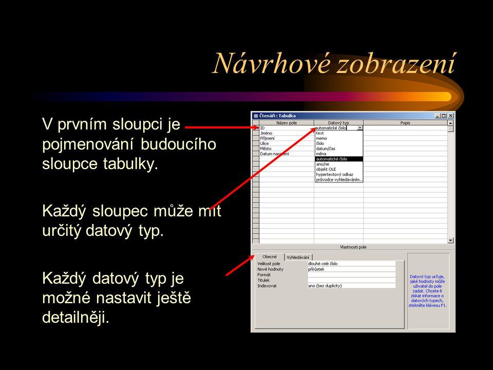 Návrhové zobrazení V prvním sloupci je pojmenování budoucího sloupce tabulky. Každý sloupec může mít určitý datový typ. Každý datový typ je možné nast
