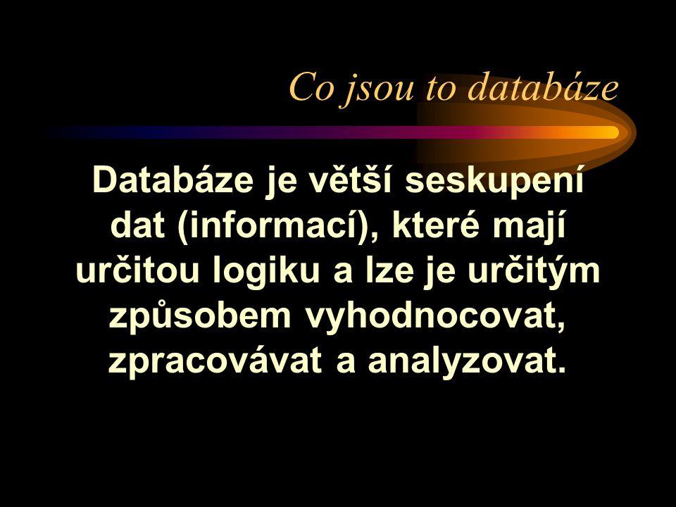 Co jsou to databáze Databáze je větší seskupení dat (informací), které mají určitou logiku a lze je určitým způsobem vyhodnocovat, zpracovávat a analy