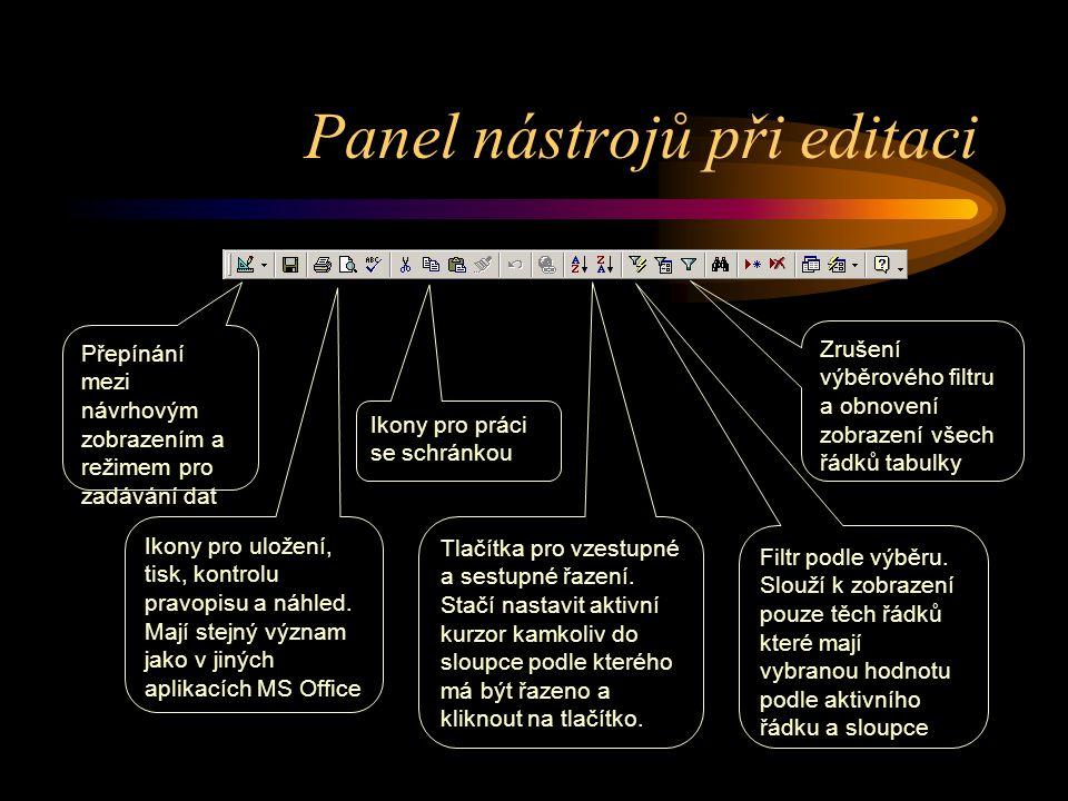 Panel nástrojů při editaci Přepínání mezi návrhovým zobrazením a režimem pro zadávání dat Ikony pro uložení, tisk, kontrolu pravopisu a náhled. Mají s
