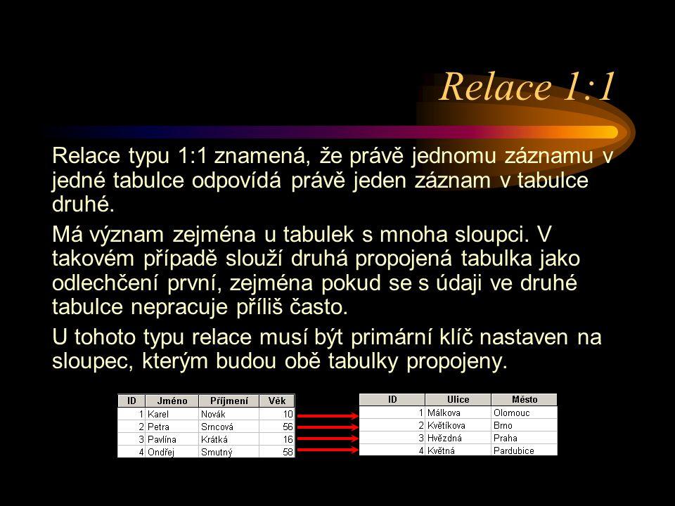 Relace 1:1 Relace typu 1:1 znamená, že právě jednomu záznamu v jedné tabulce odpovídá právě jeden záznam v tabulce druhé. Má význam zejména u tabulek