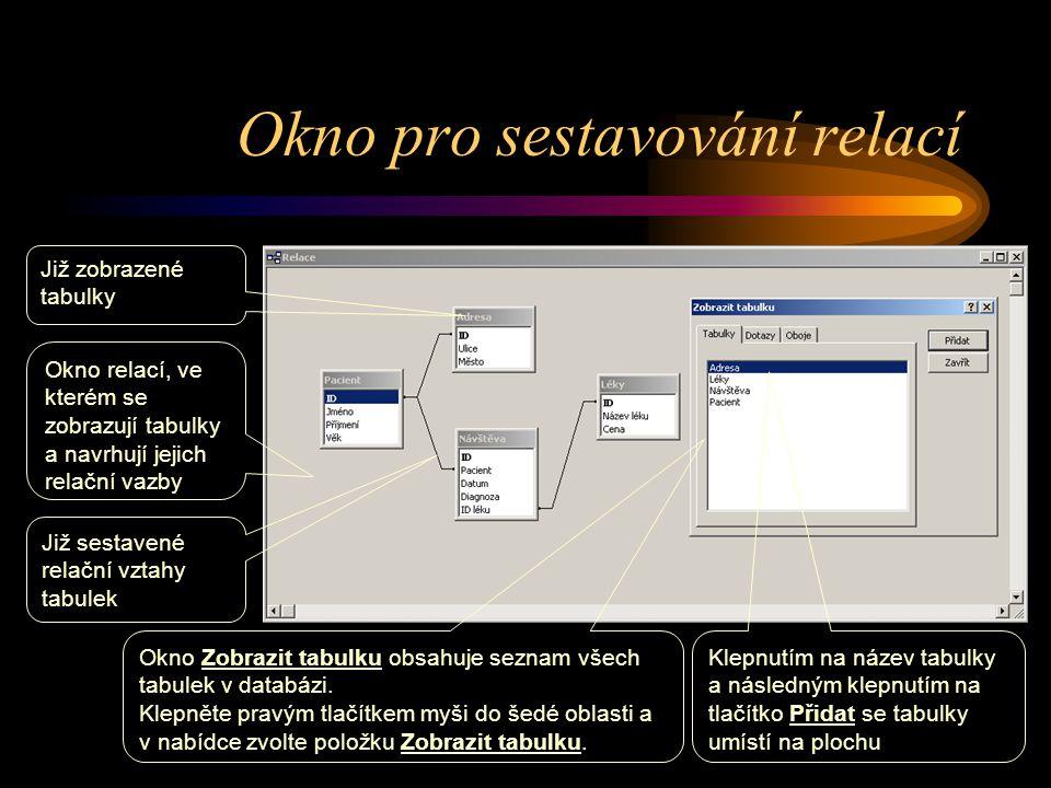 Okno pro sestavování relací Okno relací, ve kterém se zobrazují tabulky a navrhují jejich relační vazby Již zobrazené tabulky Okno Zobrazit tabulku ob