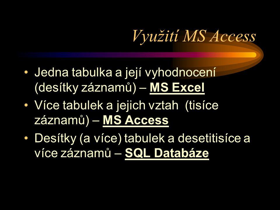 Využití MS Access •Jedna tabulka a její vyhodnocení (desítky záznamů) – MS Excel •Více tabulek a jejich vztah (tisíce záznamů) – MS Access •Desítky (a
