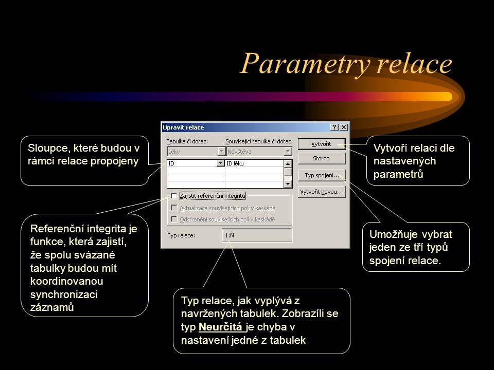 Parametry relace Sloupce, které budou v rámci relace propojeny Typ relace, jak vyplývá z navržených tabulek. Zobrazíli se typ Neurčitá je chyba v nast