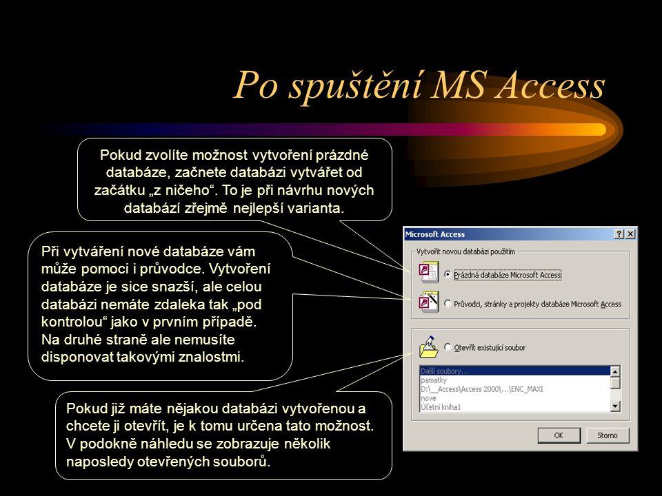 """Po spuštění MS Access Pokud zvolíte možnost vytvoření prázdné databáze, začnete databázi vytvářet od začátku """"z ničeho"""". To je při návrhu nových datab"""
