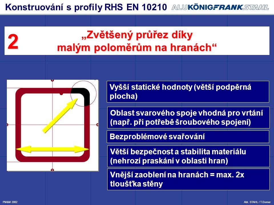 Vyšší statické hodnoty (větší podpěrná plocha) Oblast svarového spoje vhodná pro vrtání (např. při potřebě šroubového spojení) Bezproblémové svařování