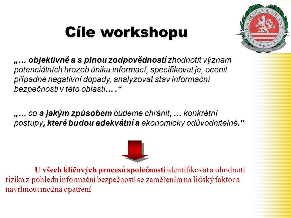 """Cíle workshopu """"… objektivně a s plnou zodpovědností zhodnotit význam potenciálních hrozeb úniku informací, specifikovat je, ocenit případné negativní"""