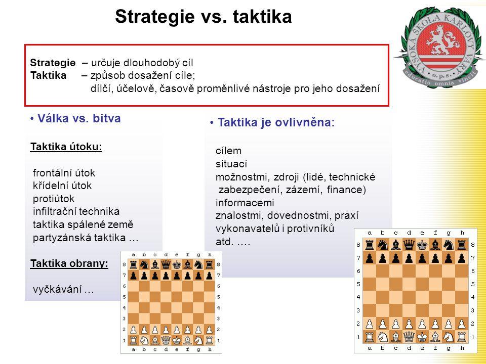 Strategie vs. taktika • Válka vs. bitva Taktika útoku: frontální útok křídelní útok protiútok infiltrační technika taktika spálené země partyzánská ta
