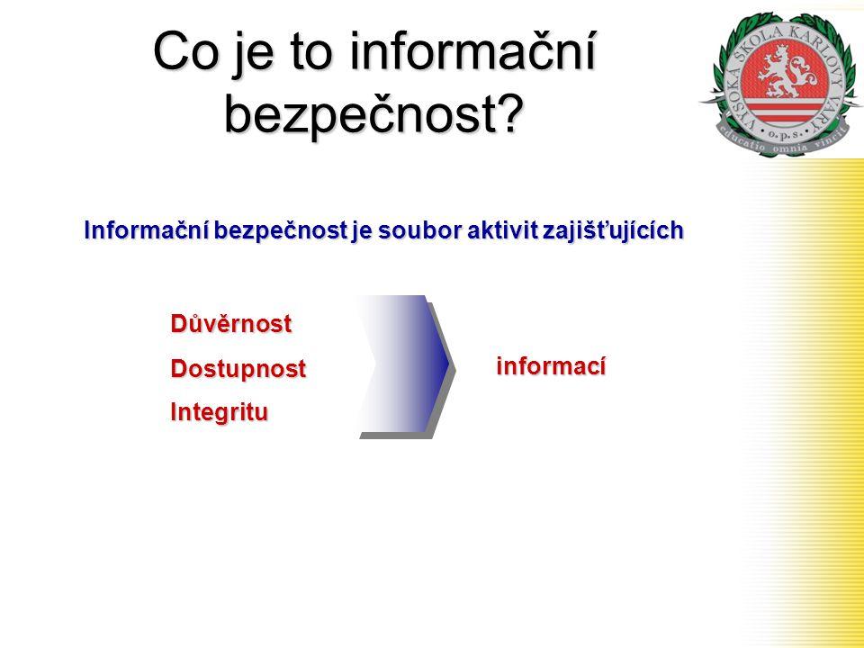 Co je to informační bezpečnost? Informační bezpečnost je soubor aktivit zajišťujících DůvěrnostDostupnostIntegrituinformací