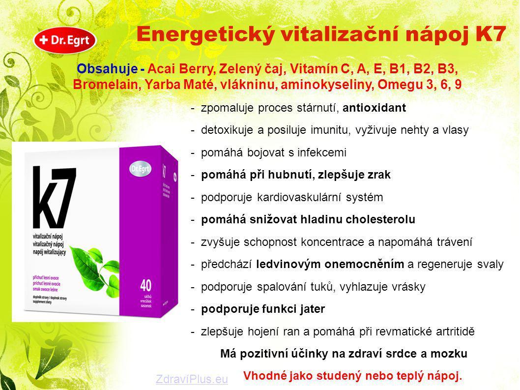 Obsahuje - Acai Berry, Zelený čaj, Vitamín C, A, E, B1, B2, B3, Bromelain, Yarba Maté, vlákninu, aminokyseliny, Omegu 3, 6, 9 - zpomaluje proces stárn