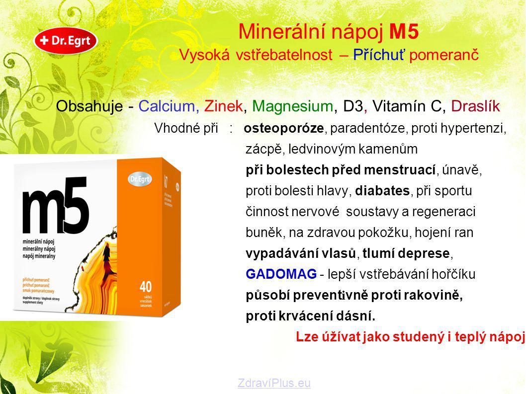 Minerální nápoj M5 Vysoká vstřebatelnost – Příchuť pomeranč Obsahuje - Calcium, Zinek, Magnesium, D3, Vitamín C, Draslík Vhodné při : osteoporóze, par