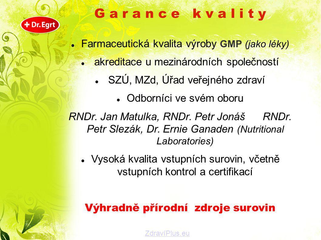 G a r a n c e k v a l i t y  Farmaceutická kvalita výroby GMP (jako léky)  akreditace u mezinárodních společností  SZÚ, MZd, Úřad veřejného zdraví
