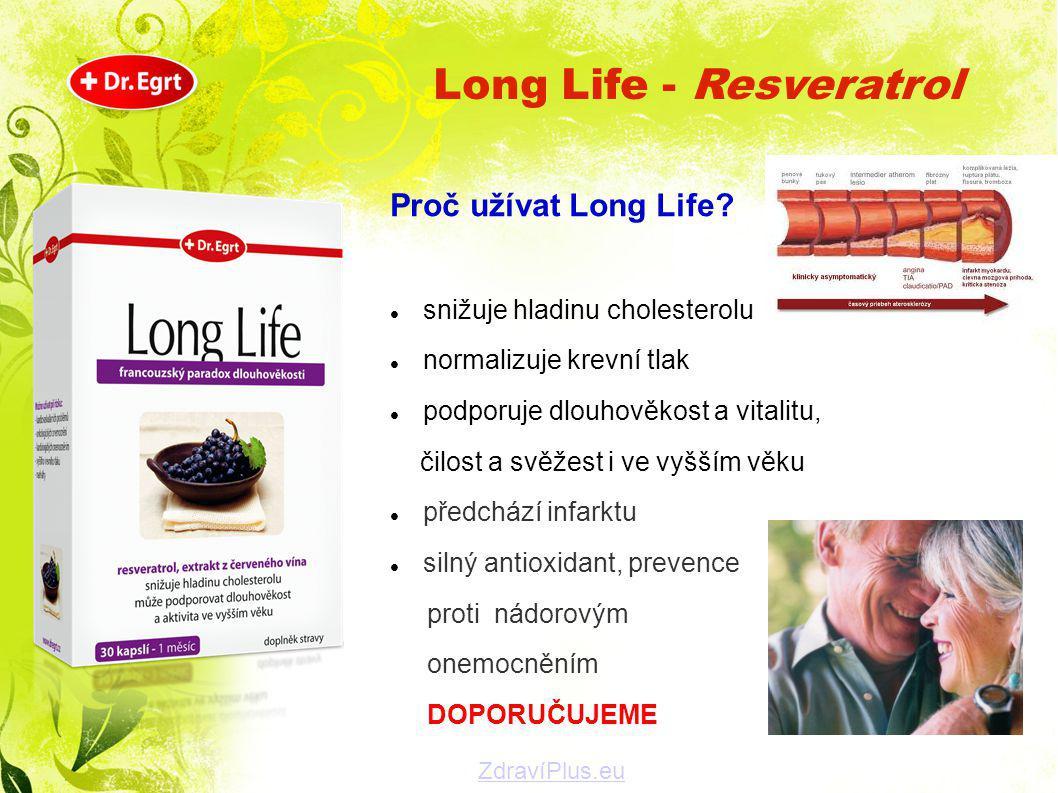 Proč užívat Long Life?  snižuje hladinu cholesterolu  normalizuje krevní tlak  podporuje dlouhověkost a vitalitu, čilost a svěžest i ve vyšším věku