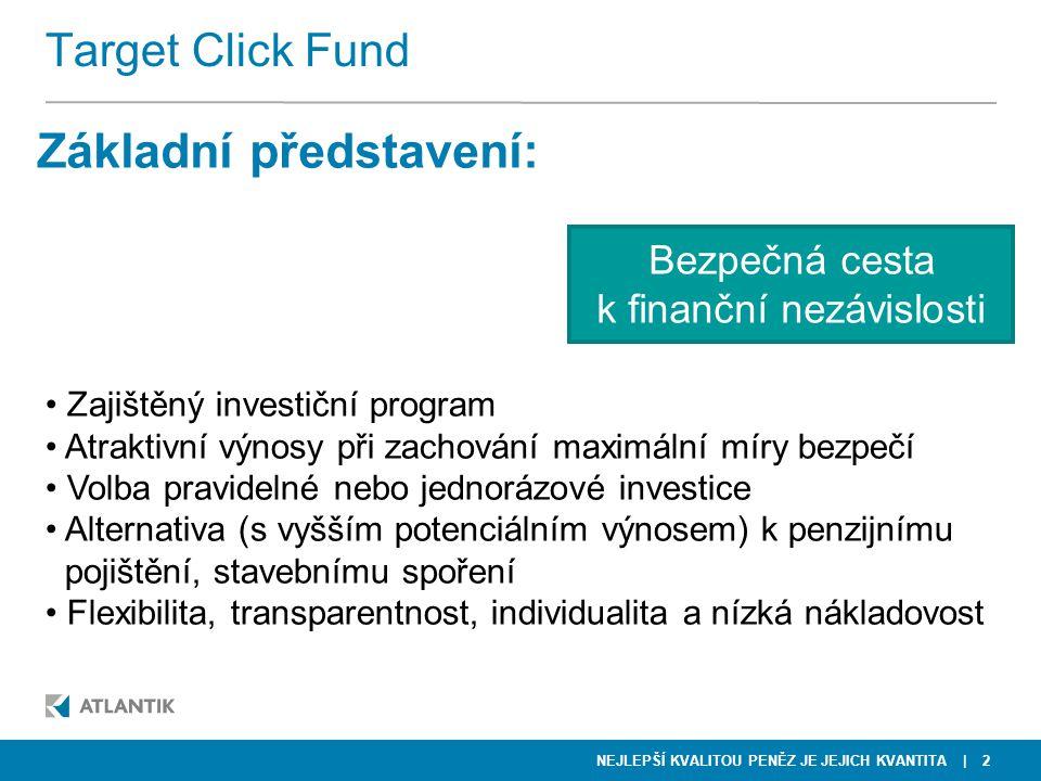 NEJLEPŠÍ KVALITOU PENĚZ JE JEJICH KVANTITA | 2 Target Click Fund Základní představení: • Zajištěný investiční program • Atraktivní výnosy při zachován