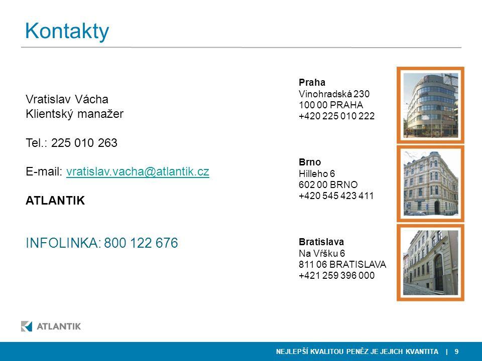 NEJLEPŠÍ KVALITOU PENĚZ JE JEJICH KVANTITA | 9 Kontakty Vratislav Vácha Klientský manažer Tel.: 225 010 263 E-mail: vratislav.vacha@atlantik.czvratisl