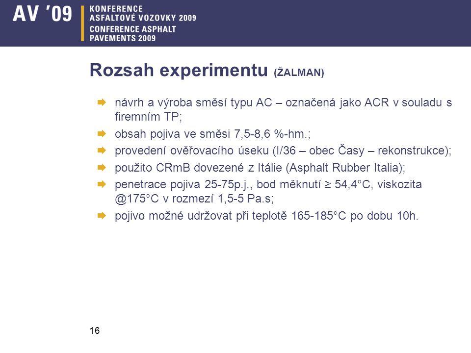 16 Rozsah experimentu (ŽALMAN)  návrh a výroba směsí typu AC – označená jako ACR v souladu s firemním TP;  obsah pojiva ve směsi 7,5-8,6 %-hm.;  pr