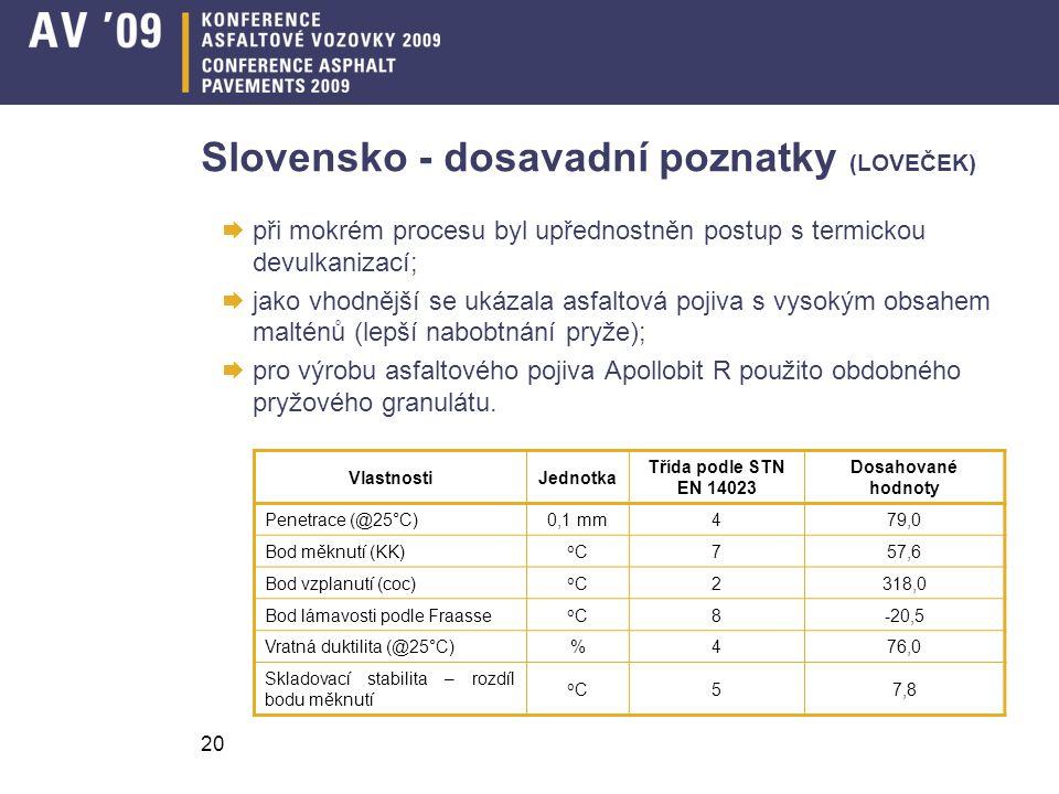 20 Slovensko - dosavadní poznatky (LOVEČEK)  při mokrém procesu byl upřednostněn postup s termickou devulkanizací;  jako vhodnější se ukázala asfalt