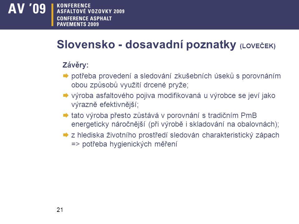 21 Slovensko - dosavadní poznatky (LOVEČEK) Závěry:  potřeba provedení a sledování zkušebních úseků s porovnáním obou způsobů využití drcené pryže; 