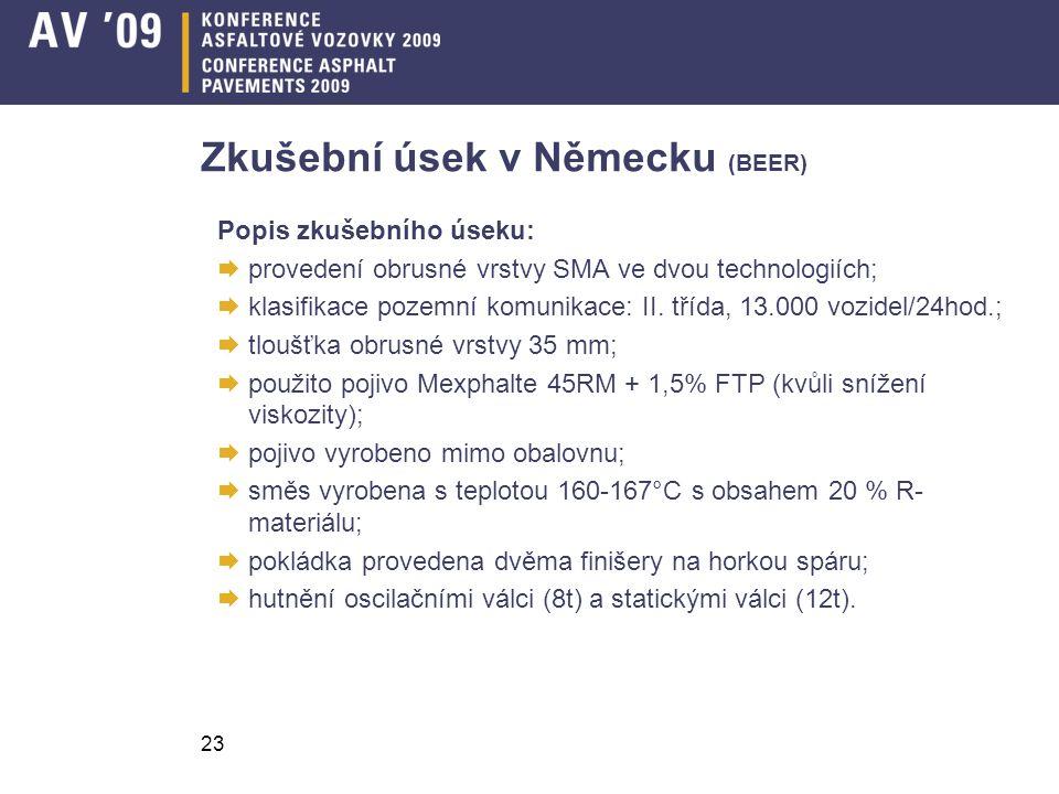 23 Zkušební úsek v Německu (BEER) Popis zkušebního úseku:  provedení obrusné vrstvy SMA ve dvou technologiích;  klasifikace pozemní komunikace: II.