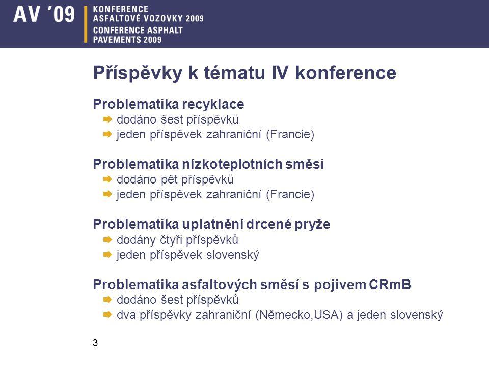3 Příspěvky k tématu IV konference Problematika recyklace  dodáno šest příspěvků  jeden příspěvek zahraniční (Francie) Problematika nízkoteplotních