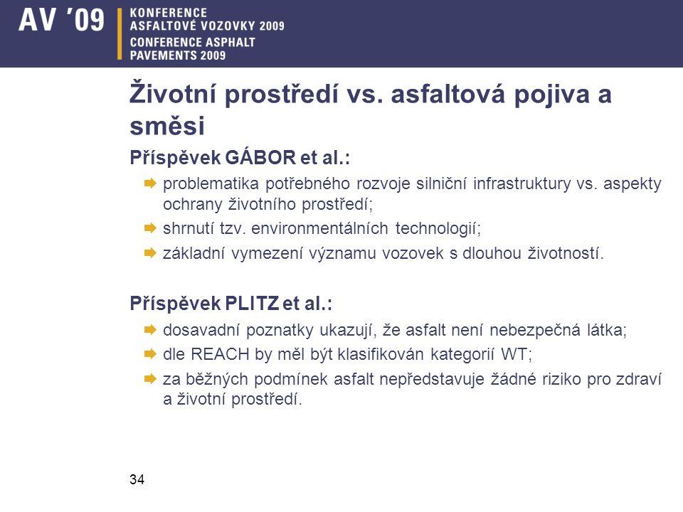 34 Životní prostředí vs. asfaltová pojiva a směsi Příspěvek GÁBOR et al.:  problematika potřebného rozvoje silniční infrastruktury vs. aspekty ochran
