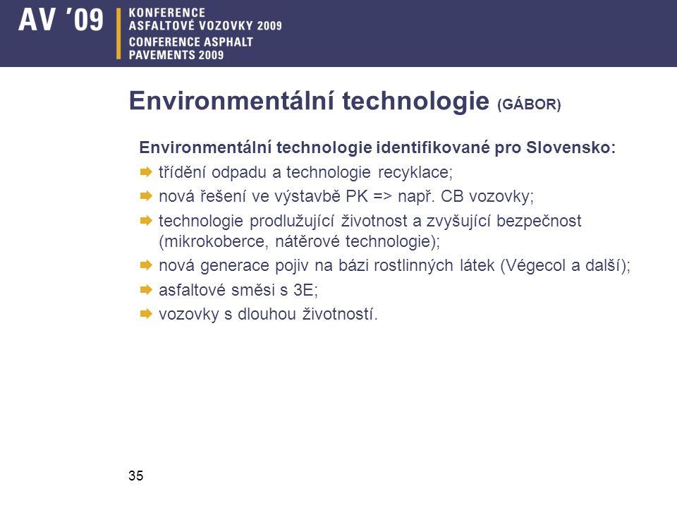 35 Environmentální technologie (GÁBOR) Environmentální technologie identifikované pro Slovensko:  třídění odpadu a technologie recyklace;  nová řeše