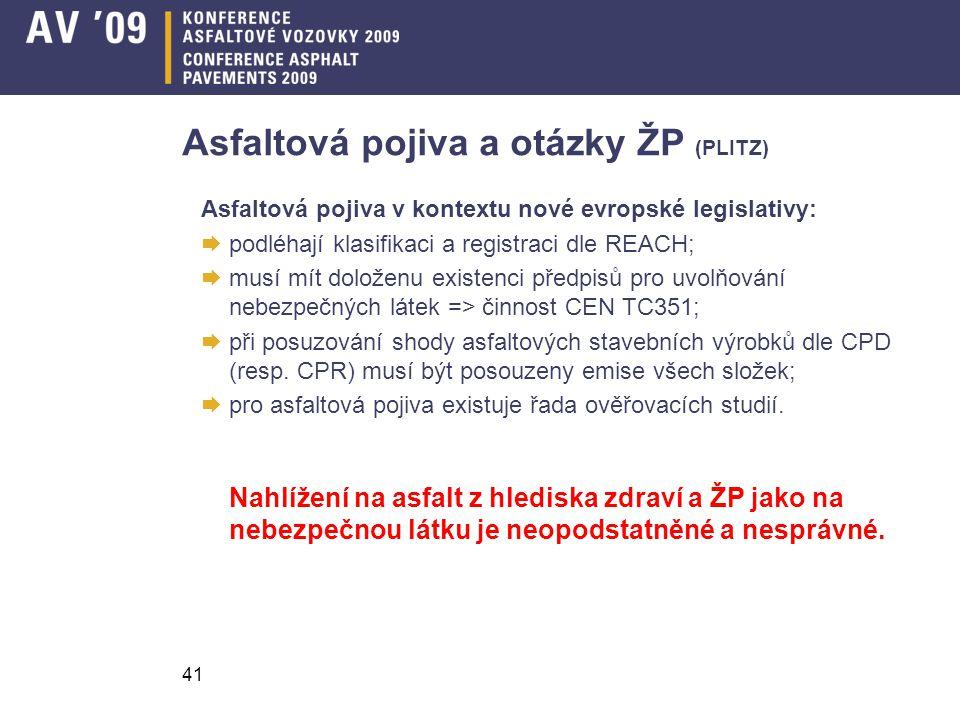 41 Asfaltová pojiva a otázky ŽP (PLITZ) Asfaltová pojiva v kontextu nové evropské legislativy:  podléhají klasifikaci a registraci dle REACH;  musí