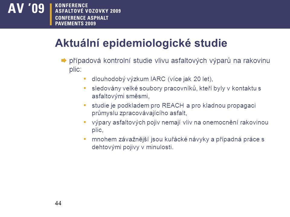 44 Aktuální epidemiologické studie  případová kontrolní studie vlivu asfaltových výparů na rakovinu plic:  dlouhodobý výzkum IARC (více jak 20 let),