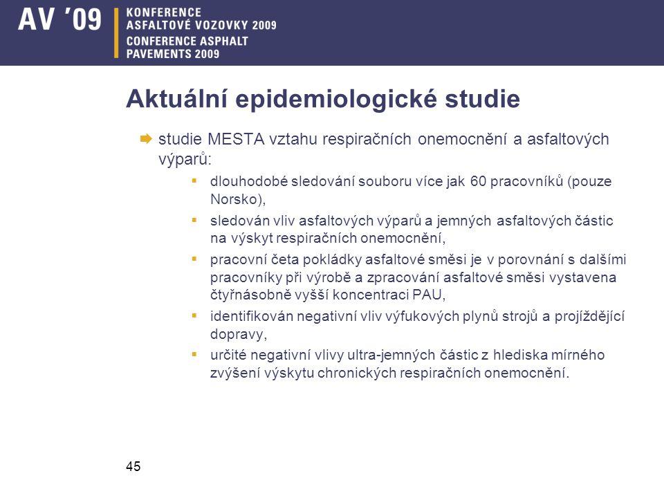 45 Aktuální epidemiologické studie  studie MESTA vztahu respiračních onemocnění a asfaltových výparů:  dlouhodobé sledování souboru více jak 60 prac