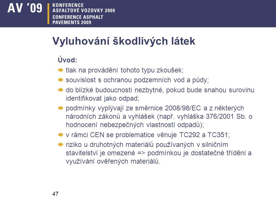 47 Vyluhování škodlivých látek Úvod:  tlak na provádění tohoto typu zkoušek;  souvislost s ochranou podzemních vod a půdy;  do blízké budoucnosti n