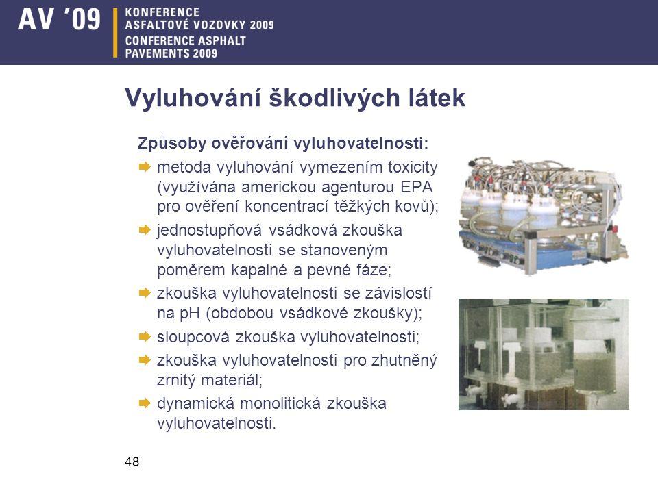 48 Vyluhování škodlivých látek Způsoby ověřování vyluhovatelnosti:  metoda vyluhování vymezením toxicity (využívána americkou agenturou EPA pro ověře