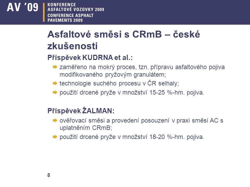 8 Asfaltové směsi s CRmB – české zkušenosti Příspěvek KUDRNA et al.:  zaměřeno na mokrý proces, tzn. přípravu asfaltového pojiva modifikovaného pryžo