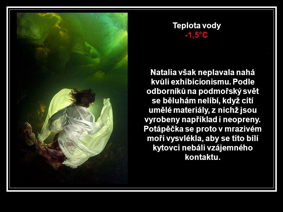 Teplota vody -1,5°C Natalia však neplavala nahá kvůli exhibicionismu.