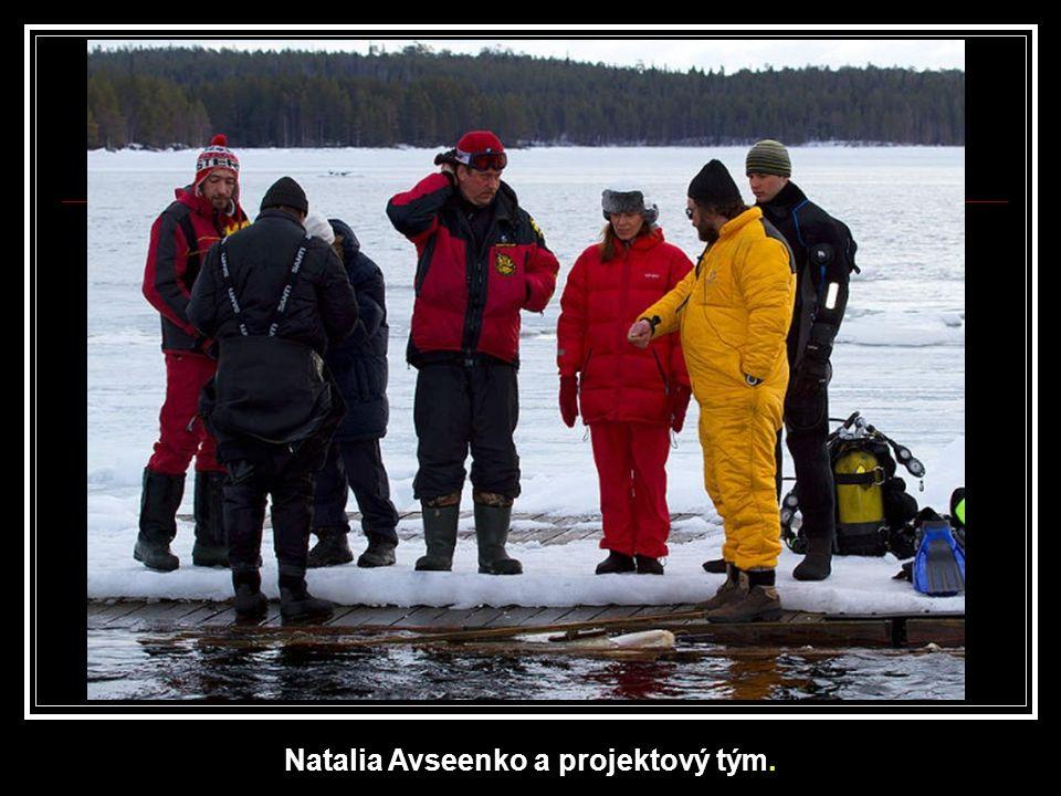 Do ledu musel nejprve doprovodný tým vysekat díru, aby měli přístup do zamrzlého moře.