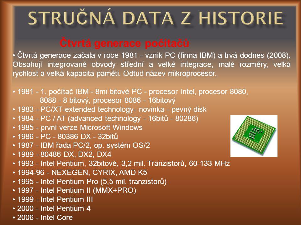 Čtvrtá generace počítačů • Čtvrtá generace začala v roce 1981 - vznik PC (firma IBM) a trvá dodnes (2008). Obsahují integrované obvody střední a velké
