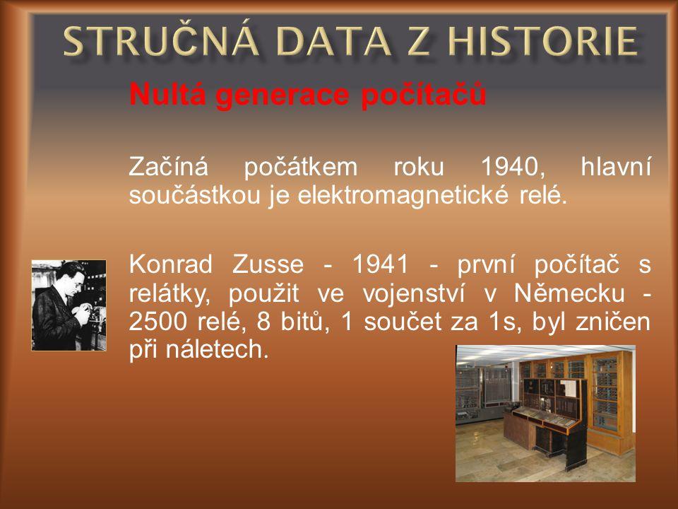 Nultá generace počítačů Začíná počátkem roku 1940, hlavní součástkou je elektromagnetické relé. Konrad Zusse - 1941 - první počítač s relátky, použit