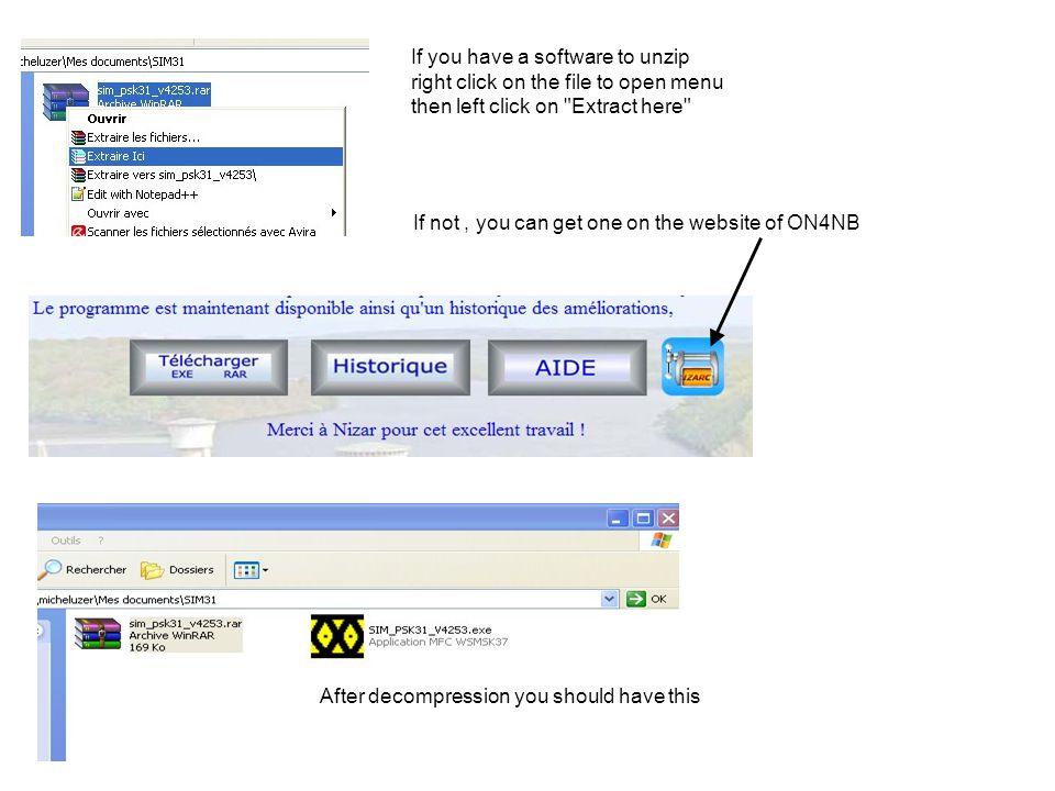 User guide SIM31 / 63 Pro usnadnění jsem si vytvořil zástupce na ploše Pozn:Zástupce musí být při každé nové verzi obnoven Right click on icon SIM31 and choose copy Right-click on the desktop and select paste shortcut Dvojklikem levým na ikoně spustíte program Okno použité pro volbu zvukové karty Nastavení max výstupní úrovně audio Označte pro použití povelů CAT Vložte specifický povelový řetězec pro přechod na TX : např: TX; RX; COM port použitý pro PTT nebo CAT Klikněte na černou šipku pro volbu interface použitého pro vstup a výstup Moje konfigurace Volba vstupu / výstupu zvukové karty ovládání PTT přes RTS, DTR nebo CAT