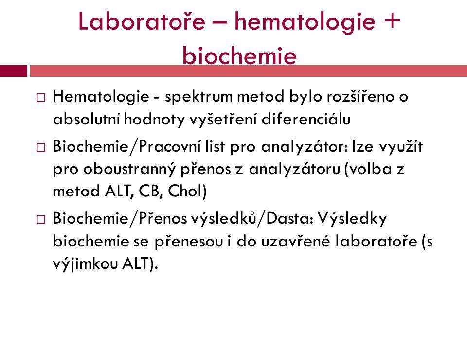 Laboratoře – hematologie + biochemie  Hematologie - spektrum metod bylo rozšířeno o absolutní hodnoty vyšetření diferenciálu  Biochemie/Pracovní lis