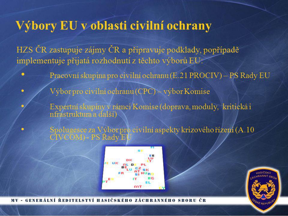 Výbory EU v oblasti civilní ochrany • Pracovní skupina pro civilní ochranu (E.21 PROCIV) – PS Rady EU • Výbor pro civilní ochranu (CPC) – výbor Komise • Expertní skupiny v rámci Komise (doprava, moduly, kritická i nfrastruktura a další) • Spolugesce za Výbor pro civilní aspekty krizového řízení (A.10 CIVCOM) - PS Rady EU HZS ČR zastupuje zájmy ČR a připravuje podklady, popřípadě implementuje přijatá rozhodnutí z těchto výborů EU: