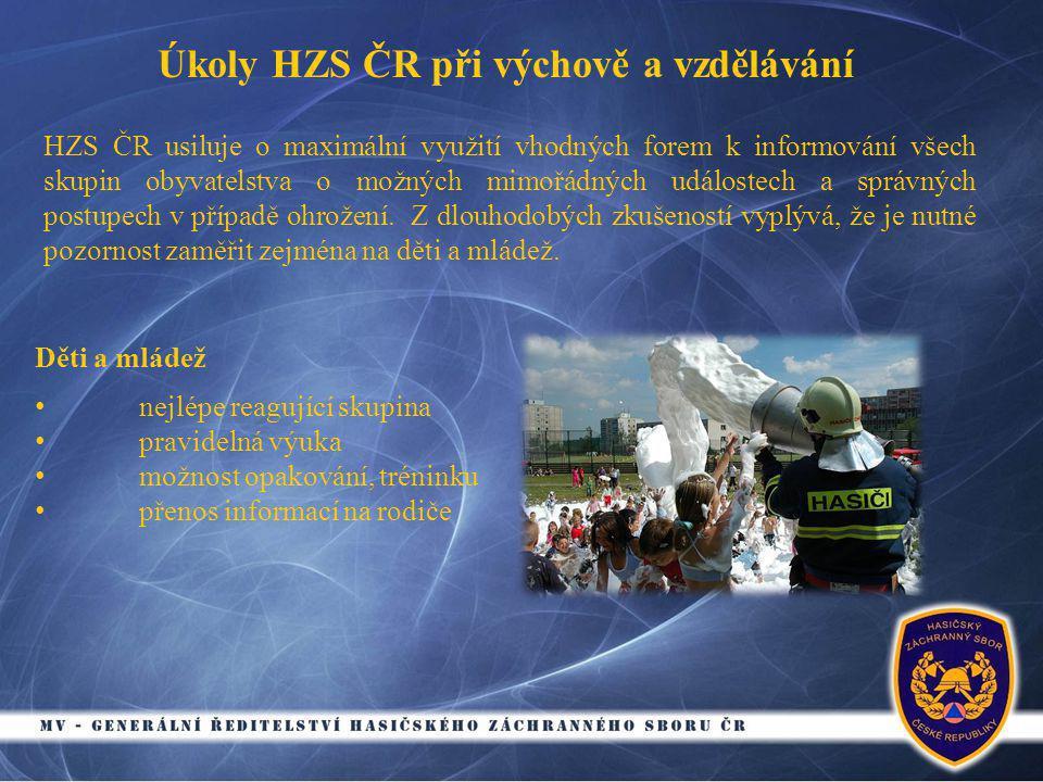 Úkoly HZS ČR při výchově a vzdělávání HZS ČR usiluje o maximální využití vhodných forem k informování všech skupin obyvatelstva o možných mimořádných událostech a správných postupech v případě ohrožení.